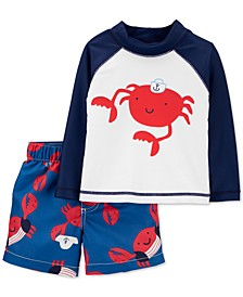 Baby Boys 2-Pc. Crab Rash Guard & Swim Shorts Set