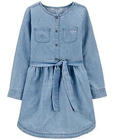 Little Girls Chambray Denim Shirtdress