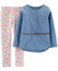 Little & Big Girls 2-Pc. Chambray Tunic & Floral-Print Leggings Set