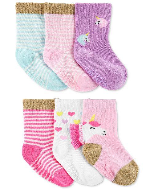 Carter's Baby Girls 6-Pk. Unicorn Crew Socks