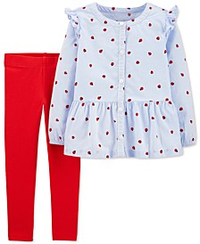 Toddler Girls 2-Pc. Long Sleeve Ladybug-Print Shirt & Jersey Leggings Set