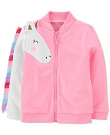 Toddler Girls Neon Unicorn French Terry Jacket