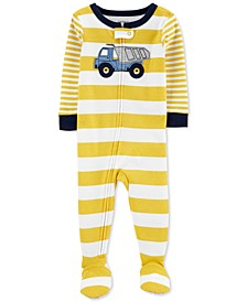 Toddler Boys 1-Pc. Cotton Striped Dump Truck Footie Pajama