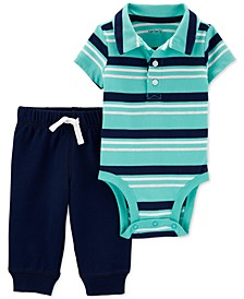 Baby Boys 2-Pc. Cotton Striped Polo Bodysuit & Jogger Pants Set