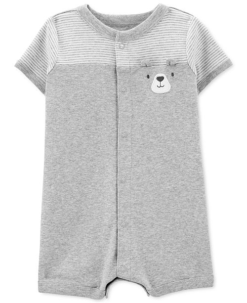 Carter's Baby Boys Cotton Striped Bear Romper