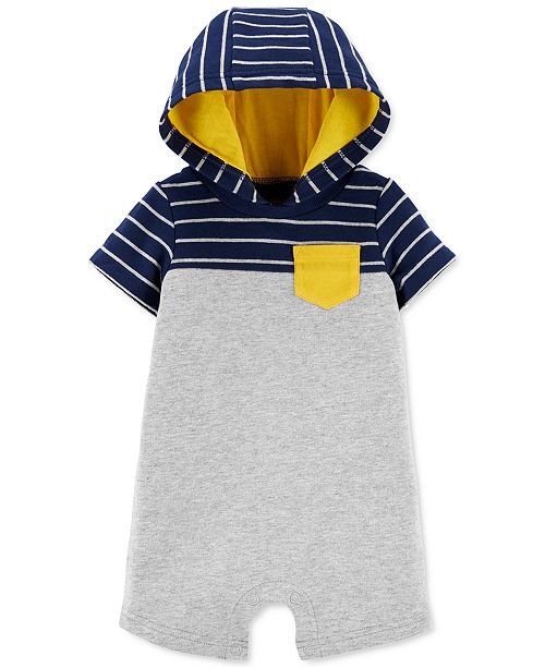 Carter's Baby Boys Striped Hooded Cotton Romper