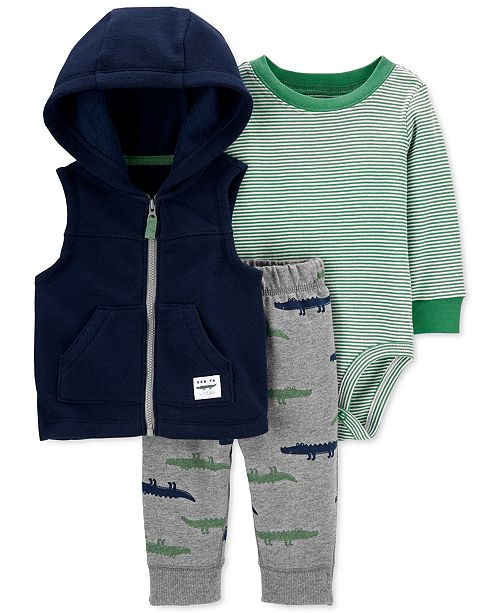 Carter's Baby Boys 3-Pc. Alligator Fleece Vest, Striped Bodysuit & Printed Pants Set