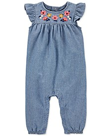 Baby Girls Cotton Chambray Coverall