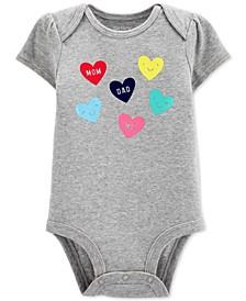 Baby Girls Cotton Heart-Print Bodysuit