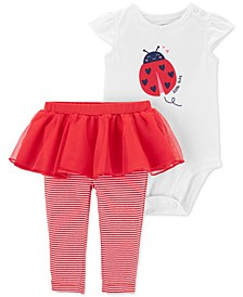 Baby Girls 2-Pc. Ladybug Bodysuit & Tutu Leggings Set