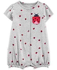 Baby Girls Ladybug-Print Cotton Romper