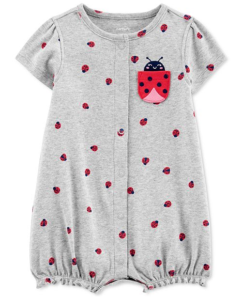 Carter's Baby Girls Ladybug-Print Cotton Romper