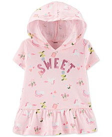 Toddler Girls Cotton Hooded Unicorn-Print Peplum Hem Top