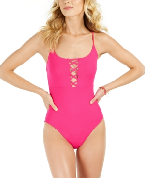 La Blanca Island Goddess Lace-up One-piece Swimsuit, Created For Macy's Women's Swimsuit In Pink