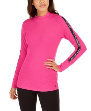 Calvin Klein T-shirts PERFORMANCE LOGO-STRIPE MOCK-NECK T-SHIRT