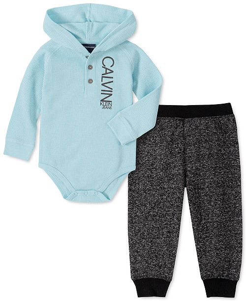 Calvin Klein Baby Boys 2-Pc. Hooded Thermal Bodysuit & Pants Set