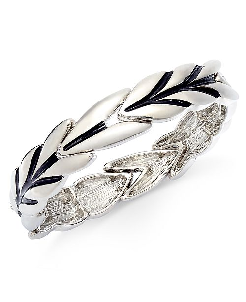 Charter Club Silver-Tone Leaf Stretch Bracelet, Created For Macy's