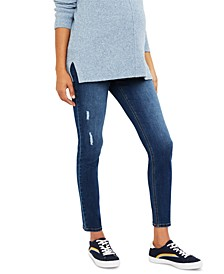 Indigo Blue Maternity Distressed Skinny Jeans