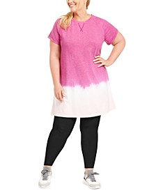 Plus Size Blurred Tie-Dyed T-Shirt Dress, Created For Macy's