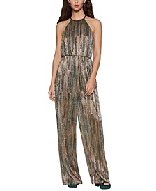 Metallic High-Neck Jumpsuit