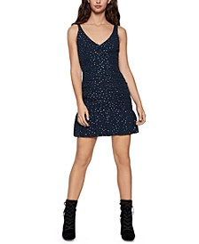 Ruched Metallic Dot-Print Mini Dress