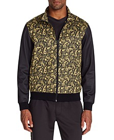 Men's Slim-Fit Stretch Paisley Track Jacket