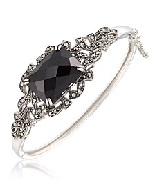 Marcasite and Faceted Onyx Square Bangle in Sterling Silver