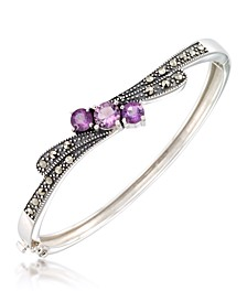 Marcasite and Amethyst (1-1/2 ct. t.w.)  Bangle in Sterling Silver