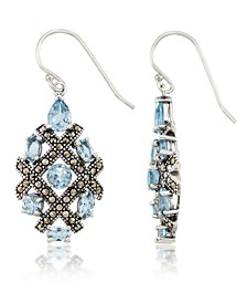 Marcasite and Blue Topaz (6 ct. t.w.)  Drop Wire Earrings in Sterling Silver