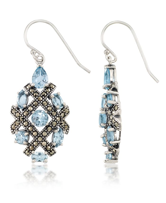 Macy's - Marcasite and Blue Topaz (6 ct. t.w.)  Drop Wire Earrings in Sterling Silver