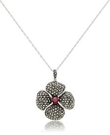 "Marcasite and Garnet (9/10 ct.t .w.)  Pave Flower Pendant+18"" Chain in Sterling Silver"