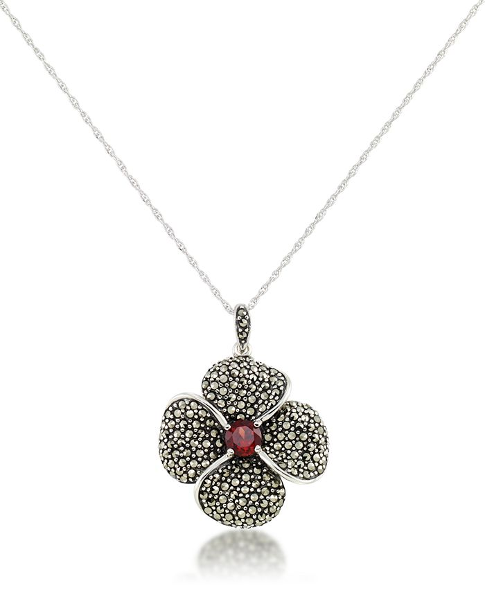 """Macy's - Marcasite and Garnet (9/10 ct.t .w.)  Pave Flower Pendant+18"""" Chain in Sterling Silver"""