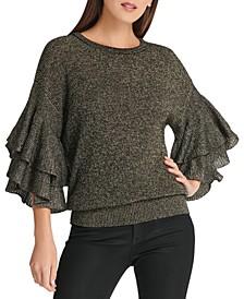 Metallic Ruffle-Sleeve Sweater