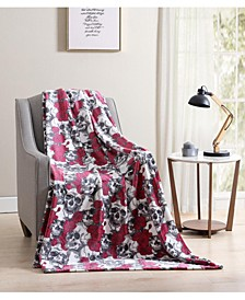 Botanical Skulls Plush Throw Blanket