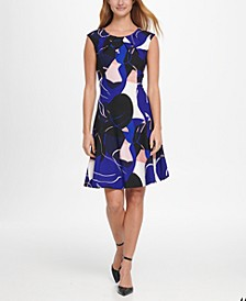 Abstract Print Pleat Neck Fit & Flare Dress
