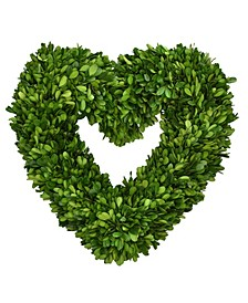 "16"" Heart Shaped Preserved Boxwood Wreath"