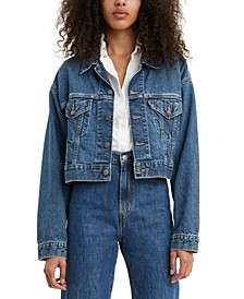 Women's Cotton Denim Cropped Trucker Jacket
