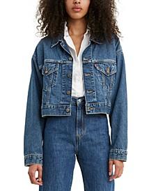 Women's Cotton Denim Cropped Trucker Jacket