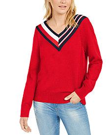 Tommy Hilfiger Striped V-Neck Sweater