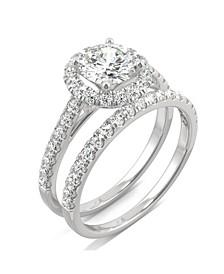 Moissanite Halo Bridal Set 1-3/4 ct. t.w. Diamond Equivalent in 14k White Gold