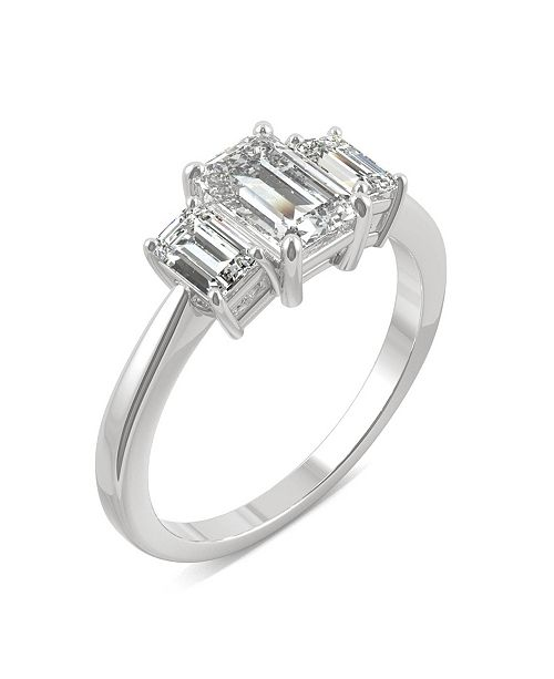 Charles & Colvard Moissanite Emerald Cut Three Stone Ring 1-1/2 ct. t.w. Diamond Equivalent in 14k White or Yellow Gold