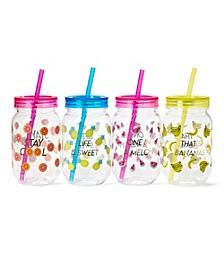 Set of 4 Fruit Theme Mason Jars