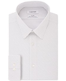 Men's Slim-Fit Stretch Performance Dot-Print Dress Shirt