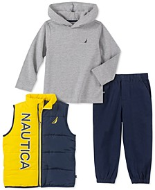 Toddler Boys 3-Pc. Colorblocked Puffer Vest, Hooded T-Shirt & Twill Joggers Set