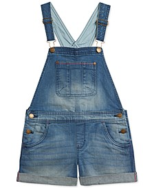 Little Girls Stretch Denim Shortalls