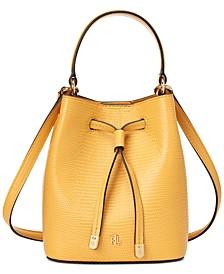 Lizard-Embossed Leather Micro Debby Bucket Bag
