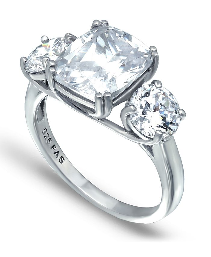 Macy's - Cubic Zirconia 3 Stone Cushion Cut Ring in Fine Silver Plate