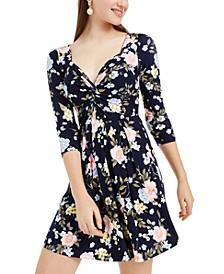 Derek Heart Juniors' Twisted Floral-Print Dress