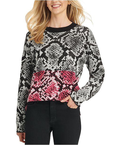 DKNY Colorblock Python-Print Sweater