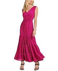 Tie-Waist Tiered Maxi Dress